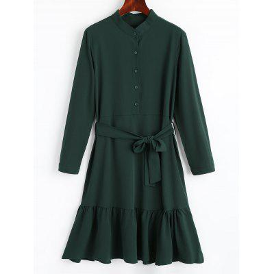 Buy BLACKISH GREEN L Belted Drop Waist Flowy Dress for $25.21 in GearBest store