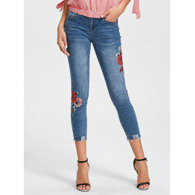 Buy DENIM BLUE XL Floral Destroyed Ninth Pencil Jeans for $32.27 in GearBest store