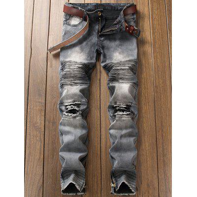 Light Wash Zipper Hem Distressed Biker JeansMens Pants<br>Light Wash Zipper Hem Distressed Biker Jeans<br><br>Closure Type: Zipper Fly<br>Fit Type: Regular<br>Material: Cotton, Polyester<br>Package Contents: 1 x Jeans<br>Pant Length: Long Pants<br>Waist Type: Mid<br>Wash: Destroy Wash<br>Weight: 0.6700kg<br>With Belt: No