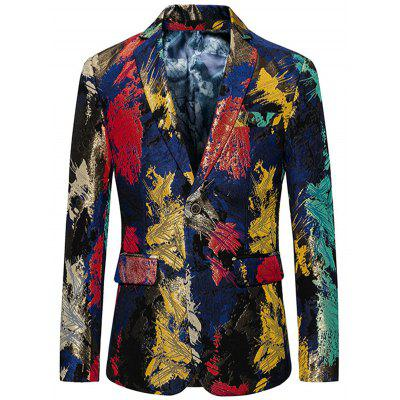 Single Breasted Flap Pockets Colorful Blazer