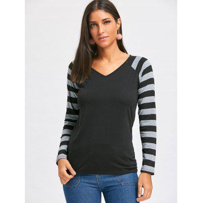 Striped Raglan Sleeve V Neck TopBlouses<br>Striped Raglan Sleeve V Neck Top<br><br>Collar: V-Neck<br>Material: Polyester, Spandex<br>Package Contents: 1 x Top<br>Pattern Type: Striped<br>Season: Fall, Spring<br>Shirt Length: Regular<br>Sleeve Length: Full<br>Style: Casual<br>Weight: 0.2700kg
