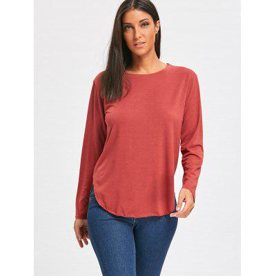 Long Sleeve Side Slit Tunic T-shirtBlouses<br>Long Sleeve Side Slit Tunic T-shirt<br><br>Collar: Scoop Neck<br>Material: Cotton, Polyester<br>Package Contents: 1 x T-shirt<br>Pattern Type: Solid<br>Season: Fall, Spring<br>Shirt Length: Long<br>Sleeve Length: Full<br>Style: Fashion<br>Weight: 0.2700kg
