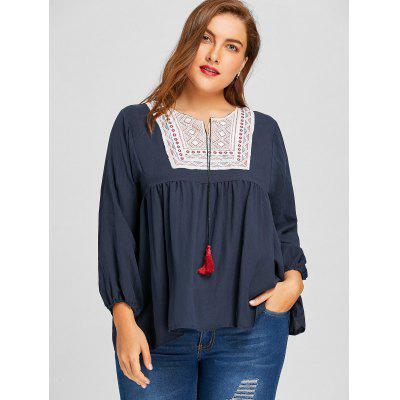 Plus Size Ethnic Embroidered Tassel BlousePlus Size Tops<br>Plus Size Ethnic Embroidered Tassel Blouse<br><br>Collar: Keyhole Neck<br>Embellishment: Embroidery,Tassel<br>Material: Polyester<br>Package Contents: 1 x Blouse<br>Pattern Type: Geometric<br>Season: Spring, Fall<br>Shirt Length: Long<br>Sleeve Length: Full<br>Style: Casual<br>Weight: 0.3100kg