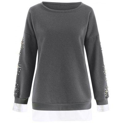 Buy DEEP GRAY 3XL Plus Size Beaded Fleece Lined Sweatshirt for $30.58 in GearBest store