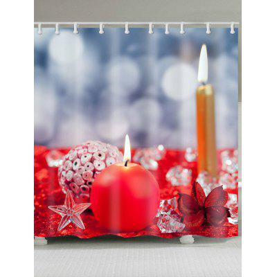 Buy COLORFUL Christmas Candles Printed Waterproof Shower Curtain for $17.11 in GearBest store