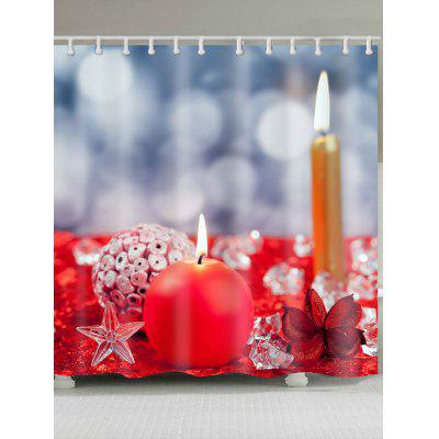 Buy COLORFUL Christmas Candles Printed Waterproof Shower Curtain for $18.14 in GearBest store
