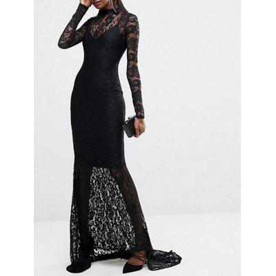 Lace Long Sleeve Open Back Maxi DressWomens Dresses<br>Lace Long Sleeve Open Back Maxi Dress<br><br>Dresses Length: Floor-Length<br>Embellishment: Lace<br>Material: Polyester<br>Neckline: Round Collar<br>Occasion: Prom, Evening, Party, Cocktail &amp; Party<br>Package Contents: 1 x Lace Dress 1 x Slip Dress<br>Pattern Type: Solid Color<br>Season: Fall, Spring<br>Silhouette: Trumpet/Mermaid<br>Sleeve Length: Long Sleeves<br>Style: Brief<br>Weight: 0.4200kg<br>With Belt: No