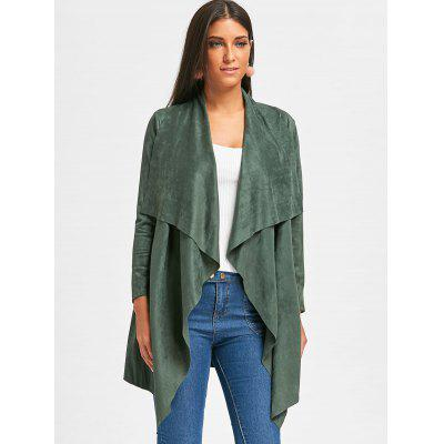 Open Front Faux Suede Draped CardiganSweaters &amp; Cardigans<br>Open Front Faux Suede Draped Cardigan<br><br>Collar: Shawl Collar<br>Material: Polyester, Spandex<br>Package Contents: 1 x Cardigan<br>Pattern Type: Solid<br>Season: Spring, Fall<br>Sleeve Length: Full<br>Style: Fashion<br>Type: Cardigans<br>Weight: 0.5300kg
