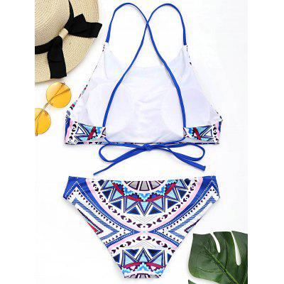 Criss Cross Geometric Print Bikini SetLingerie &amp; Shapewear<br>Criss Cross Geometric Print Bikini Set<br><br>Bra Style: Padded<br>Elasticity: Elastic<br>Embellishment: Criss-Cross<br>Gender: For Women<br>Material: Nylon, Spandex<br>Neckline: High Neck<br>Package Contents: 1 x Top  1 x Panty<br>Pattern Type: Geometric<br>Support Type: Wire Free<br>Swimwear Type: Bikini<br>Waist: Natural<br>Weight: 0.2700kg