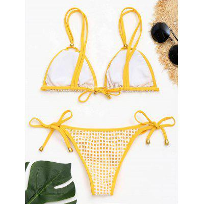 Low Waist Tied Openwork Bikini SetLingerie &amp; Shapewear<br>Low Waist Tied Openwork Bikini Set<br><br>Bikini Type: Micro Bikini<br>Bra Style: Padded<br>Elasticity: Elastic<br>Gender: For Women<br>Material: Nylon, Spandex<br>Neckline: Spaghetti Straps<br>Package Contents: 1 x Bra  1 x Panty<br>Pattern Type: Others<br>Support Type: Wire Free<br>Swimwear Type: Bikini<br>Waist: Low Waisted<br>Weight: 0.1600kg