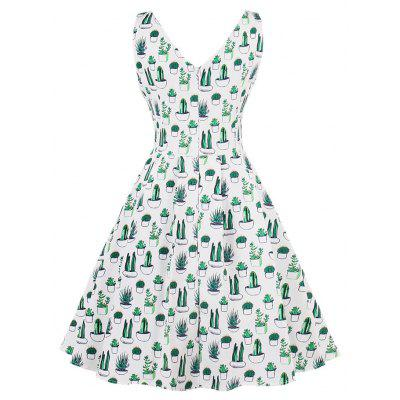 Vintage Cactus Print V Neck Pin Up DressWomens Dresses<br>Vintage Cactus Print V Neck Pin Up Dress<br><br>Dress Type: Fit and Flare Dress<br>Dresses Length: Knee-Length<br>Material: Cotton, Polyester<br>Neckline: V-Neck<br>Package Contents: 1 x Dress<br>Pattern Type: Print<br>Season: Spring, Fall<br>Silhouette: A-Line<br>Sleeve Length: Sleeveless<br>Style: Vintage<br>Weight: 0.3700kg<br>With Belt: No