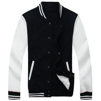 Buy Color Block Mens Baseball Jacket BLACK 3XL for $37.96 in GearBest store