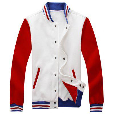 Buy Color Block Mens Baseball Jacket WHITE 2XL for $37.96 in GearBest store