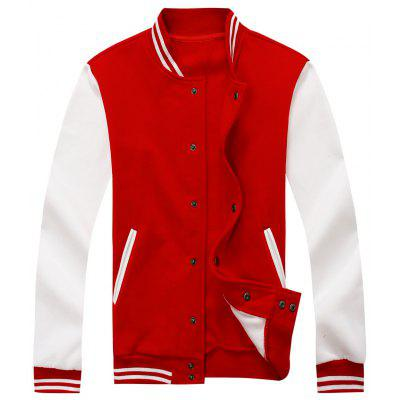 Buy Color Block Mens Baseball Jacket RED M for $37.96 in GearBest store