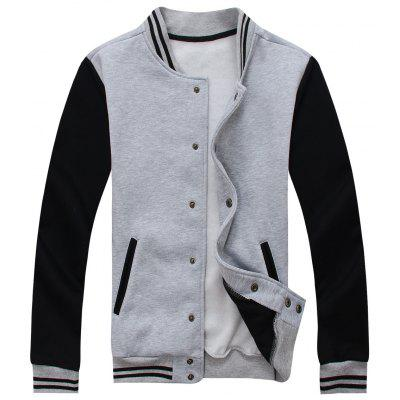 Buy Color Block Mens Baseball Jacket GRAY 3XL for $37.96 in GearBest store