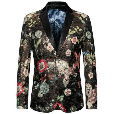 Floral Pattern Single Breasted Blazer