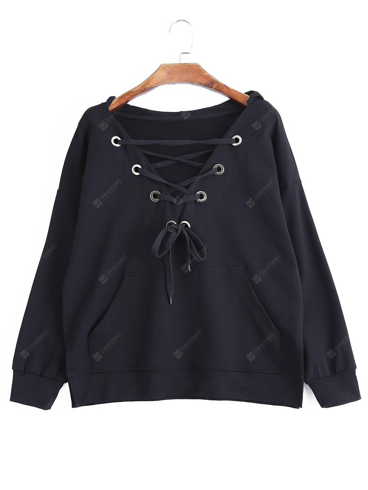 Lace Up Pocket Oversized Hoodie