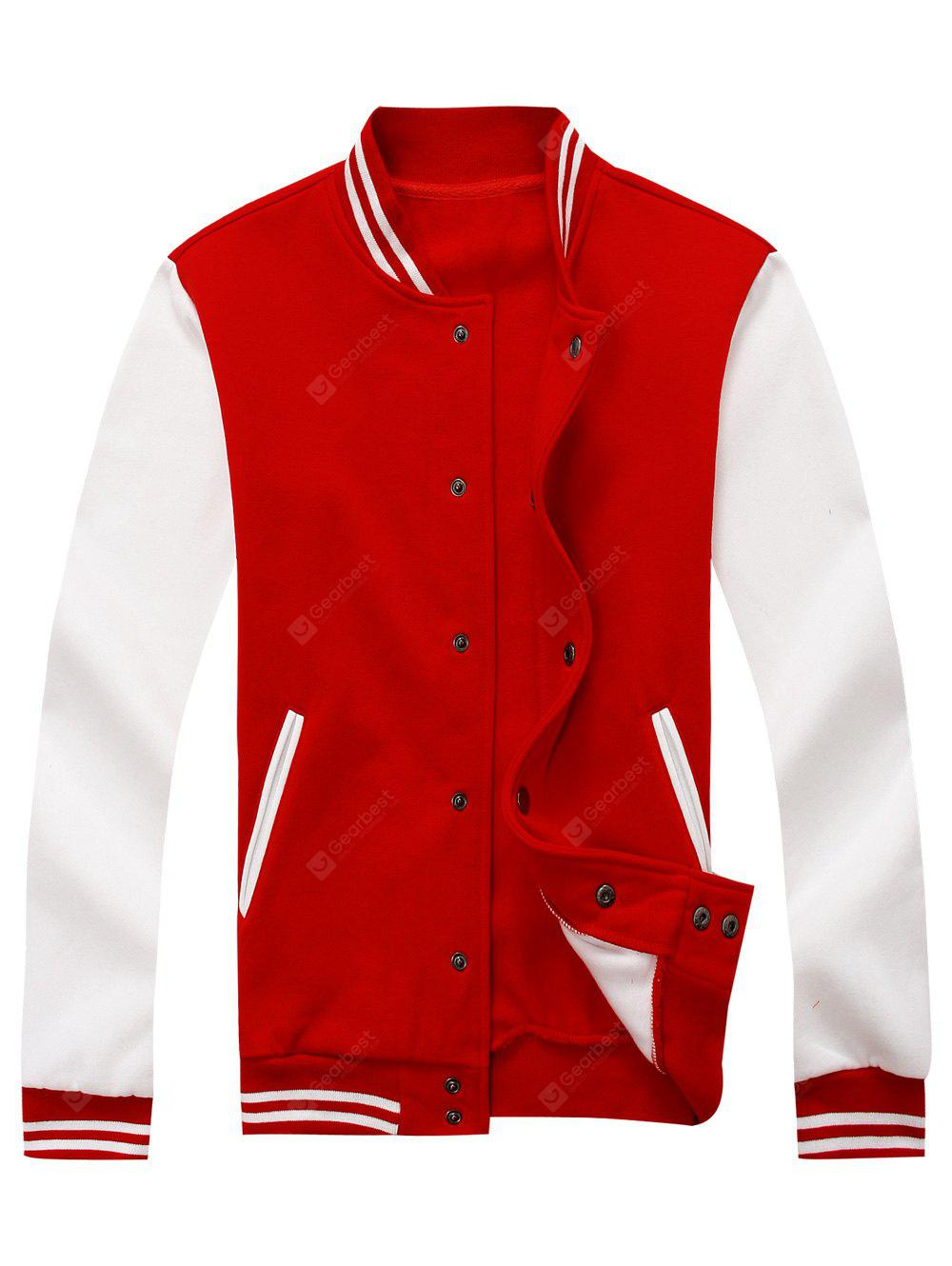 Color Block Mens Baseball Jacket RED 3XL