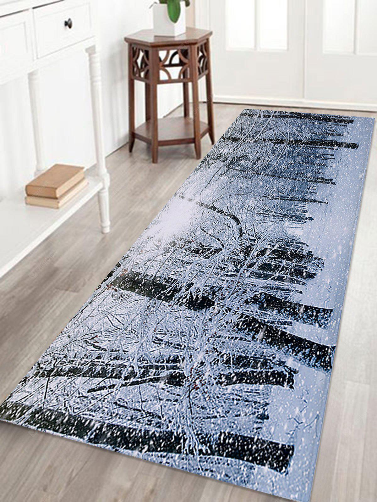 Christmas Snow Forest Printed Skidproof Coral Fleece Bath Rug, COLORMIX, Home & Garden, Home Textile, Carpets & Rugs