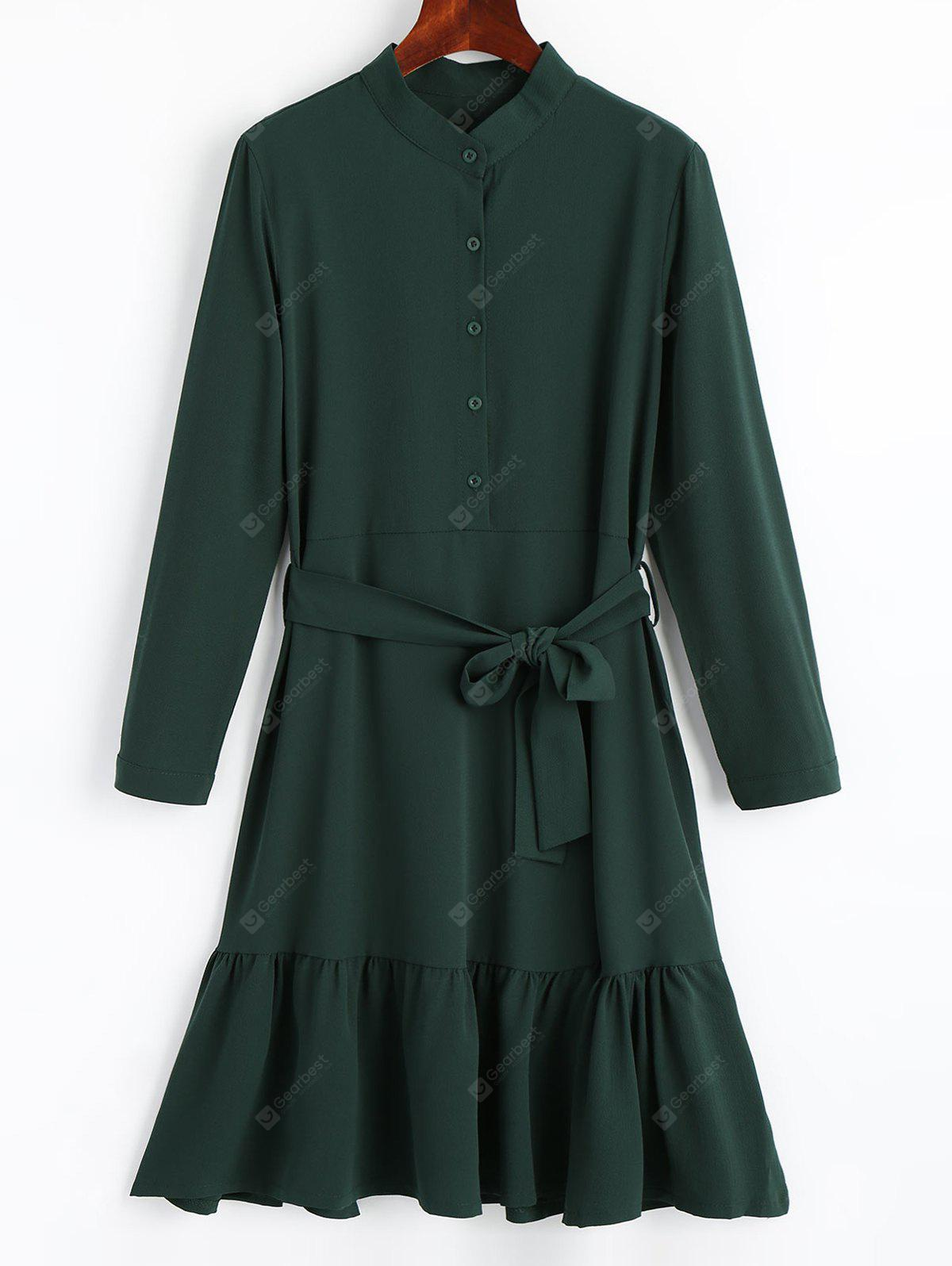 BLACKISH GREEN XL Belted Drop Waist Flowy Dress