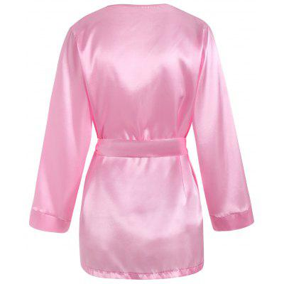 Satin Kimono Wrap Sleep RobePajamas<br>Satin Kimono Wrap Sleep Robe<br><br>Material: Polyester<br>Package Contents: 1 x Robe  1 x Belt  1 x T Back<br>Pattern Type: Solid<br>Weight: 0.1700kg