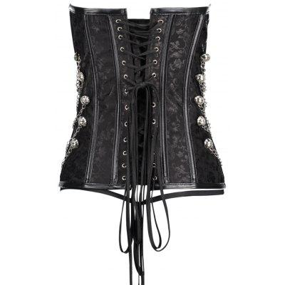 Lace Up Chians Punk Steel Boned Corset TopLingerie &amp; Shapewear<br>Lace Up Chians Punk Steel Boned Corset Top<br><br>Embellishment: Chains,Criss-Cross,Vintage<br>Fabric Type: Satin<br>Material: Polyester<br>Package Contents: 1 x Corset 1 x G-string<br>Pattern Type: Paisley<br>Weight: 0.4000kg