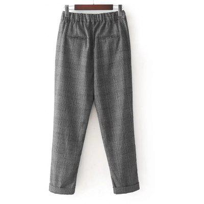 Checked Ninth Tapered PantsPants<br>Checked Ninth Tapered Pants<br><br>Closure Type: Elastic Waist<br>Fit Type: Regular<br>Length: Ninth<br>Material: Cotton, Jeans, Polyester<br>Package Contents: 1 x Pants<br>Pant Style: Harem Pants<br>Pattern Type: Plaid<br>Style: Casual<br>Waist Type: Mid<br>Weight: 0.3700kg<br>With Belt: No
