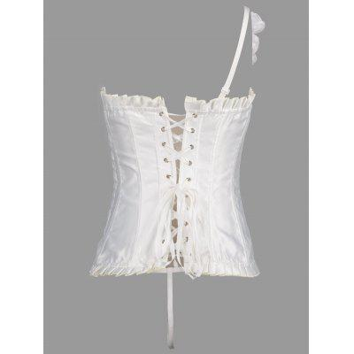 Flower Patch Lace Up Corset Evening TopLingerie &amp; Shapewear<br>Flower Patch Lace Up Corset Evening Top<br><br>Embellishment: Appliques,Criss-Cross,Flowers,Ruffles,Vintage<br>Fabric Type: Satin<br>Material: Polyester<br>Package Contents: 1 x Corset<br>Pattern Type: Solid<br>Weight: 0.4500kg