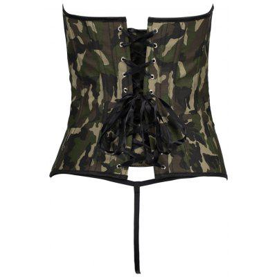 Lace Up Steel Boned Camo Corset TopLingerie &amp; Shapewear<br>Lace Up Steel Boned Camo Corset Top<br><br>Embellishment: Criss-Cross<br>Material: Polyester<br>Package Contents: 1 x Corset Top  1 x G-string<br>Pattern Type: Print<br>Weight: 0.4500kg