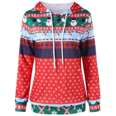 Christmas Print Drawstring Pullover Hoodie snowman print pullover christmas hoodie