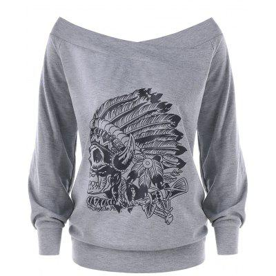 Plus Size Indian Print Off The Shoulder Pullover Sweatshirt