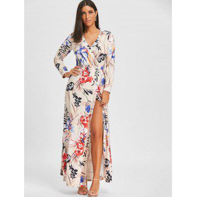 Surplice Neck High Slit Floral Maxi DressWomens Dresses<br>Surplice Neck High Slit Floral Maxi Dress<br><br>Dresses Length: Ankle-Length<br>Elasticity: Elastic<br>Embellishment: Slit<br>Material: Polyester, Spandex<br>Neckline: V-Neck<br>Package Contents: 1 x Dress<br>Pattern Type: Floral<br>Season: Fall, Spring<br>Silhouette: A-Line<br>Sleeve Length: Long Sleeves<br>Style: Casual<br>Weight: 0.6500kg<br>With Belt: No