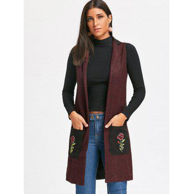 Embroidered Pockets Heathered Longline WaistcoatJackets &amp; Coats<br>Embroidered Pockets Heathered Longline Waistcoat<br><br>Collar: Stand-Up Collar<br>Embellishment: Embroidery<br>Material: Cotton<br>Package Contents: 1 x Waistcoat<br>Pattern Type: Floral<br>Season: Fall, Spring<br>Shirt Length: Long<br>Style: Fashion<br>Thickness: Standard<br>Weight: 0.6500kg