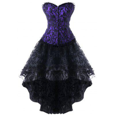 Strapless Lace Up High Low Steel Boned Corset Dress