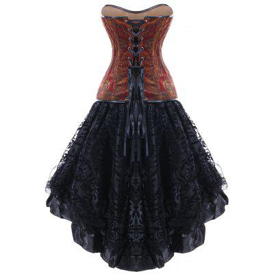 Skull PU Insert Strapless High Low Corset DressLingerie &amp; Shapewear<br>Skull PU Insert Strapless High Low Corset Dress<br><br>Embellishment: Patch Designs,Vintage<br>Material: Polyester<br>Package Contents: 1 x Corset Dress<br>Pattern Type: Patchwork<br>Weight: 0.2500kg