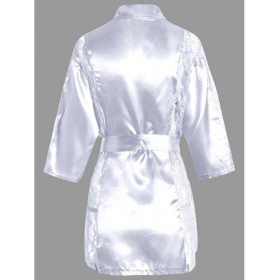 Satin Lace Insert Sheer Sleep RobePajamas<br>Satin Lace Insert Sheer Sleep Robe<br><br>Material: Cotton, Polyester<br>Package Contents: 1 x Robe  1 x Belt  1 x T Back<br>Pattern Type: Solid<br>Weight: 0.2100kg