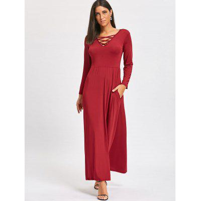 Lattice V-neck Long Sleeve Floor Length DressWomens Dresses<br>Lattice V-neck Long Sleeve Floor Length Dress<br><br>Dresses Length: Floor-Length<br>Material: Polyester, Spandex<br>Neckline: V-Neck<br>Package Contents: 1 x Dress<br>Pattern Type: Solid<br>Season: Spring, Fall<br>Silhouette: Straight<br>Sleeve Length: Long Sleeves<br>Style: Casual<br>Weight: 0.3700kg<br>With Belt: No