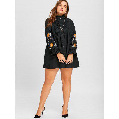 Button Up Embroidery Plus Size Pleated Panel ShirtPlus Size Tops<br>Button Up Embroidery Plus Size Pleated Panel Shirt<br><br>Collar: High Collar<br>Embellishment: Embroidery<br>Material: Polyester, Spandex<br>Package Contents: 1 x Shirt<br>Pattern Type: Solid<br>Season: Spring, Fall<br>Shirt Length: Long<br>Sleeve Length: Full<br>Style: Fashion<br>Weight: 0.3900kg