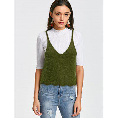 Fuzzy Knitted Scalloped Tank TopTank Tops<br>Fuzzy Knitted Scalloped Tank Top<br><br>Collar: V-Neck<br>Material: Acrylic, Cotton, Polyester<br>Package Contents: 1 x Tank Top<br>Pattern Type: Solid<br>Shirt Length: Short<br>Style: Fashion<br>Thickness: Standard<br>Weight: 0.2600kg