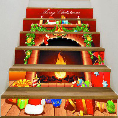 Christmas Fireplace Pattern Stair Stickers