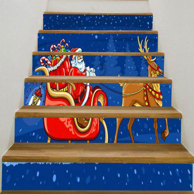 Buy Santa Clause Elk Sleigh Pattern Stair Stickers, BLUE AND RED, Home & Garden, Home Decors, Wall Art, Wall Stickers for $12.84 in GearBest store