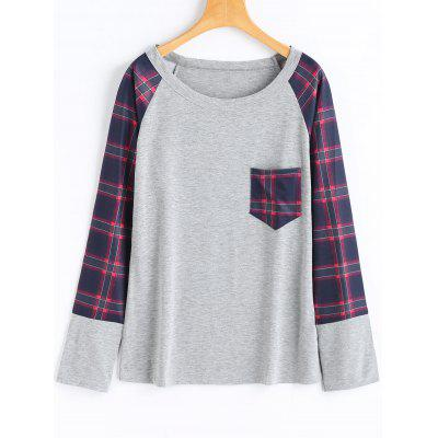 Checked Front Pocket Long Sleeve T-shirt