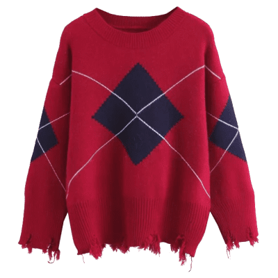 Geometric Frayed Hem Pullover SweaterSweaters &amp; Cardigans<br>Geometric Frayed Hem Pullover Sweater<br><br>Collar: Round Collar<br>Material: Acrylic, Cotton, Polyester<br>Package Contents: 1 x Sweater<br>Pattern Type: Geometric<br>Sleeve Length: Full<br>Style: Fashion<br>Type: Pullovers<br>Weight: 0.5200kg