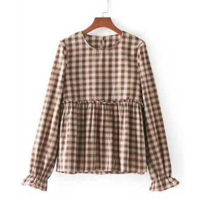 Buy CHECKED M Checked Ruffles Elastic Cuffs Blouse for $22.07 in GearBest store