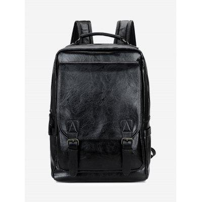 Faux Leather Buckle Straps Backpack