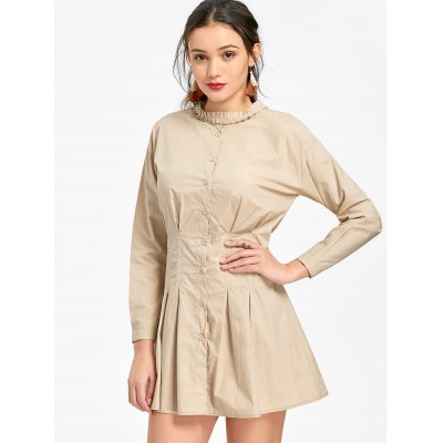 Button Up Long Sleeve Mini Pleated Dress