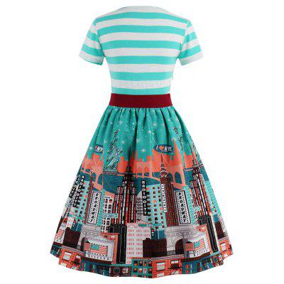 Christmas Striped City Print Vintage Skater DressWomens Dresses<br>Christmas Striped City Print Vintage Skater Dress<br><br>Dresses Length: Knee-Length<br>Material: Cotton, Polyester<br>Neckline: V-Neck<br>Package Contents: 1 x Dress  1x Belt<br>Pattern Type: Striped, Print<br>Season: Fall, Spring<br>Silhouette: A-Line<br>Sleeve Length: Short Sleeves<br>Style: Vintage<br>Weight: 0.4200kg<br>With Belt: Yes