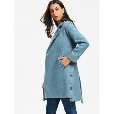 Side Slit Belted Coat with GrommetJackets &amp; Coats<br>Side Slit Belted Coat with Grommet<br><br>Clothes Type: Wool &amp; Blends<br>Collar: Lapel<br>Material: Acrylic, Polyester, Wool<br>Package Contents: 1 x Coat 1 x Belt<br>Pattern Type: Solid<br>Season: Winter, Spring, Fall<br>Shirt Length: Long<br>Sleeve Length: Full<br>Style: Fashion<br>Type: Asymmetric Length<br>Weight: 1.0600kg<br>With Belt: Yes
