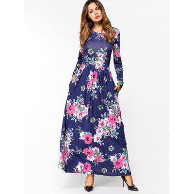 Buy DEEP BLUE M Flower Print Long Sleeve Maxi Dress for $25.00 in GearBest store