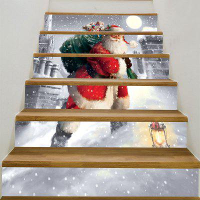 Buy Santa Claus Walking In the Snow Printed Stair Stickers, RED AND WHITE, Home & Garden, Home Decors, Wall Art, Wall Stickers for $12.84 in GearBest store